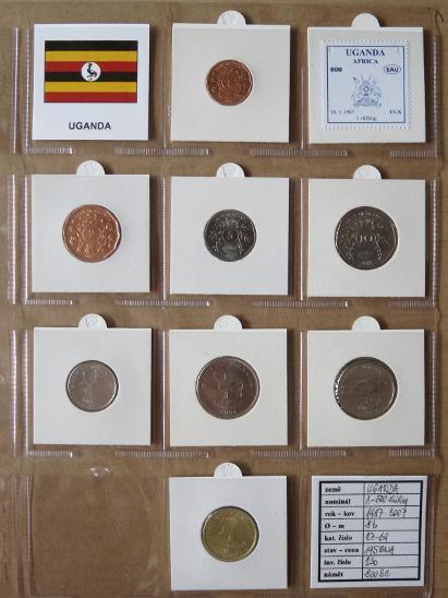 UGANDA: 2 kompletní sady 8 mincí 1-500 shillings 1987-2007 UNC rámečky - Numismatika