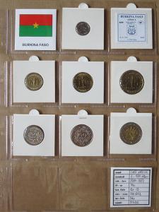 ZÁP.AFRIKA: nekompletní sada 7 mincí 1-250 francs 1984-94 UNC rámečky