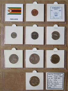 ZIMBABWE: kompletní sada 8 mincí 1 cent-5 dollars 1997-02 UNC rámečky