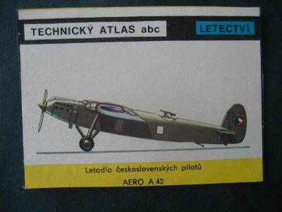 Papírová kartička letadla Čs.pilotů s popisem