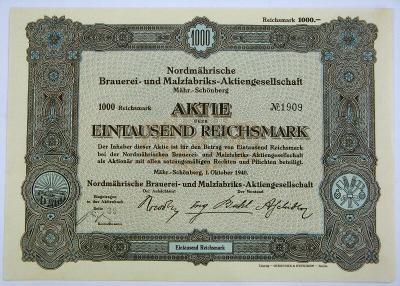 """Akci """"Severomorav. pivovaru a sladovny v Šumperku"""", 1000 RM, 1.10.1940"""