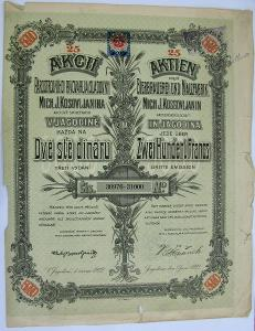 """Akcie""""Parostrojního pivovaru a sladovny"""" v Jagodině, 5000 Dinárů, 1922"""