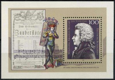 Německo 1991 Wolfgang Amadeus Mozart Mi# Block 26 0473