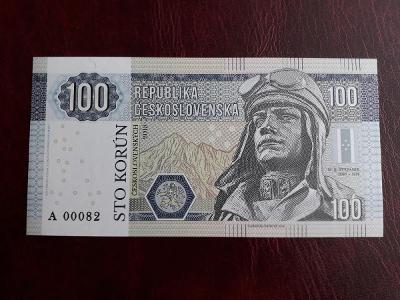 """100 Kčs - M.R. ŠTEFÁNIK (modrý papír) UNC """"Gábriš"""""""