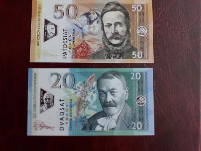 Bankovky Gábriš: 20+50 korun sada stejné čísla polymer