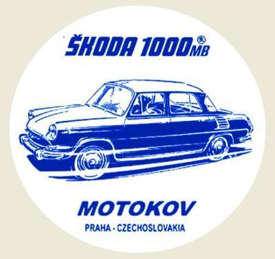 ŠKODA 1000MB MOTOKOV Czechoslovakia modrá, bílá samolepka pr.7-(1x).