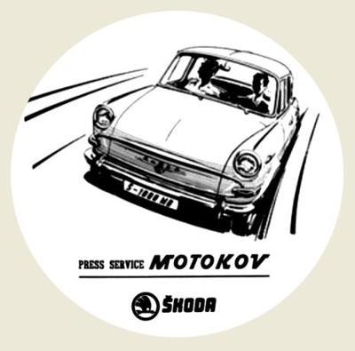 ŠKODA 1000MB press service MOTOKOV, bílá samolepka pr.7-(1x).