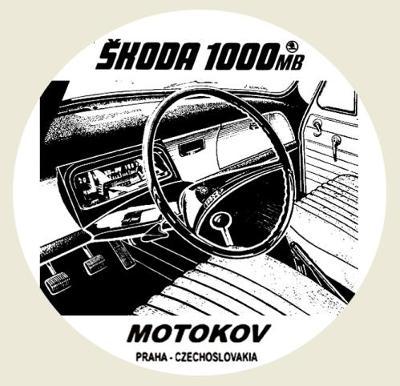ŠKODA 1000MB MOTOKOV, interiér palubovka, bílá samolepka pr.7-(1x).