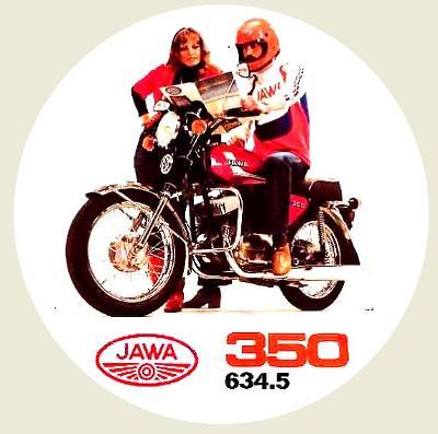 JAWA 350 634.5, Olga Blechová, bílá samolepka pr.7-(1x).