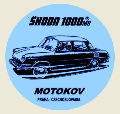 ŠKODA 1000MB MOTOKOV Czechoslovakia černá, bílá samolepka pr.7-(1x).