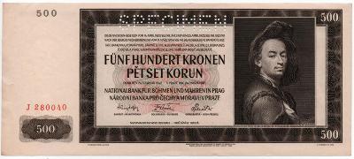 500 kčs 1942 1. serie J PERFOROVANA aUNC!!