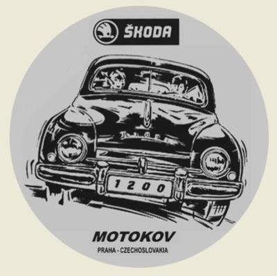 ŠKODA 1200 MOTOKOV Czechoslovakia černá, bílá samolepka pr.7-(1x).