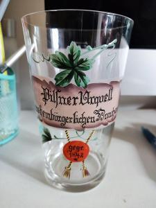 Starožitný půllitr Sklenice Pilsner Urguell - Pivo Prazdroj - RRR