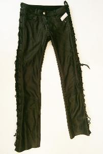 Kožené kalhoty dámské šněrovací HIGHWAY- vel. XS/34, pas: 74 cm