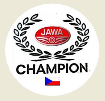 Věnec CHAMPION ve stylu JAWA stříbrno/červené,bílá samolep. pr.4-(1x).