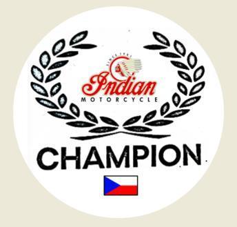 Věnec CHAMPION ve stylu Indian Motorcycle, bílá samolep. pr.4-(1x).