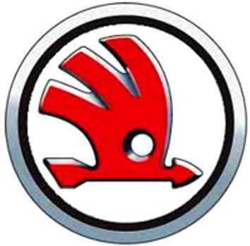 Logo ve stylu ŠKODA červené provedení, bílá samolepka pr.4-(1x).