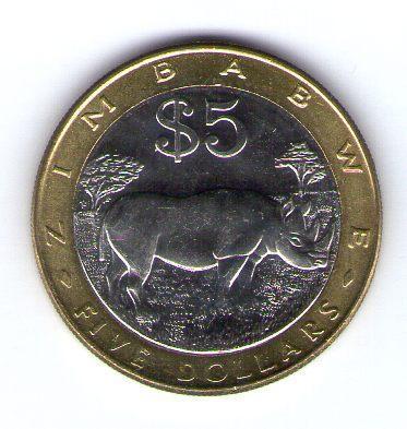 Zimbabwe 5 Dollars 2002 Bimetal KM 13