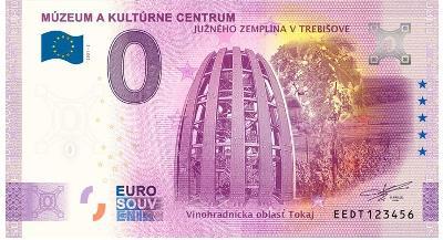 0 Euro souvenir bankovka 2021 MÚZEUM v TREBIŠOVE 2