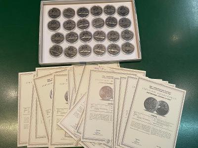 celá sada pamětních medailí Bible s certifikáty Národní pokladnice