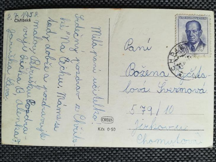 CHŘIBSKÁ, DĚČÍN, KOSTEL, NÁMĚSTÍ, 1958 - Pohlednice