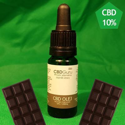 CBD Konopný Olej (kapky) 10% 10ml - MLÉČNÁ ČOKOLÁDA