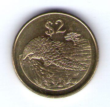 Zimbabwe 2 Dollars 2002 mosaz cl.ocel KM 12a