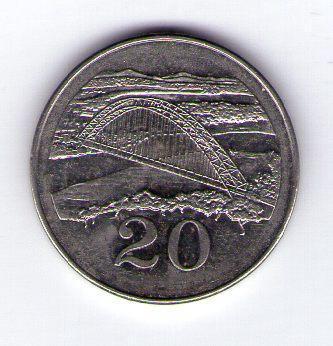 Zimbabwe 20 cents 2001 Ni cl.ocel KM 4a