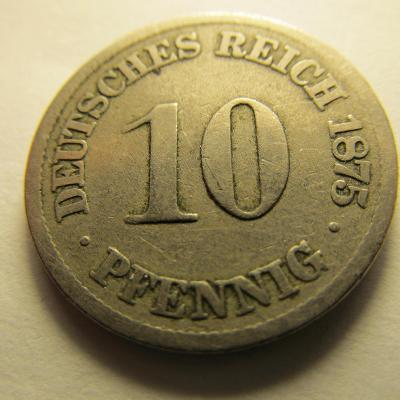 Německo, Kaiser Reich , 10 pfennig z roku 1875 A