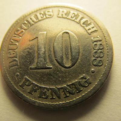 Německo, Kaiser Reich , 10 pfennig z roku 1888 A