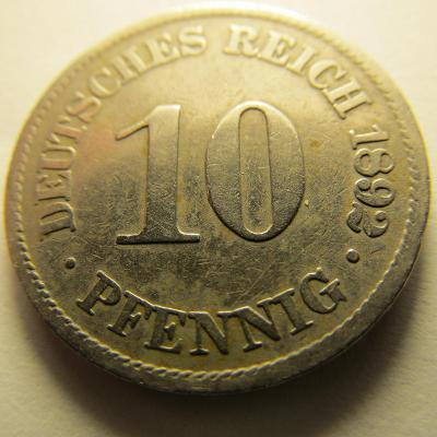Německo, Kaiser Reich , 10 pfennig z roku 1892 A