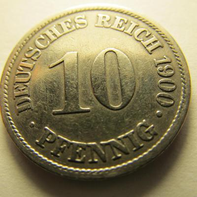 Německo, Kaiser Reich , 10 pfennig z roku 1900 A