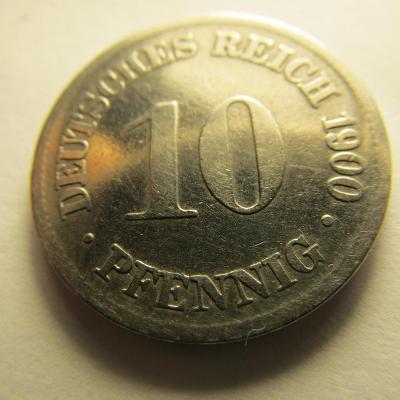 Německo, Kaiser Reich , 10 pfennig z roku 1900 D