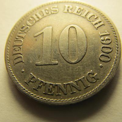 Německo, Kaiser Reich , 10 pfennig z roku 1900 E