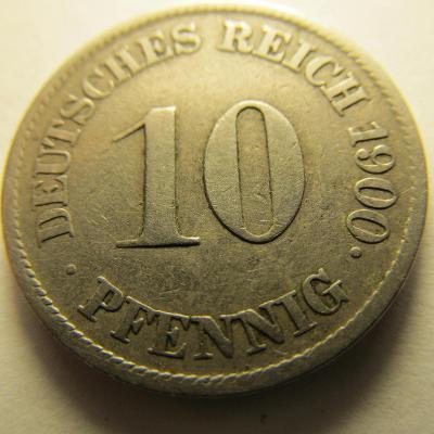 Německo, Kaiser Reich , 10 pfennig z roku 1900 J
