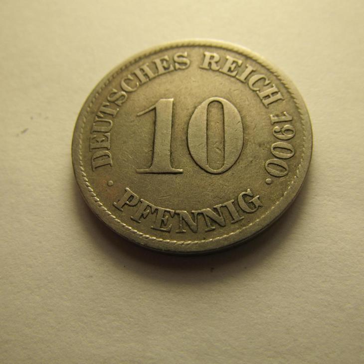 Německo, Kaiser Reich , 10 pfennig z roku 1900 J - Numismatika