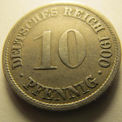 Německo, Kaiser Reich , 10 pfennig z roku 1900 F