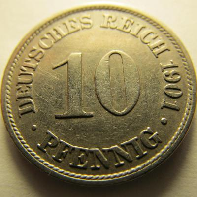 Německo, Kaiser Reich , 10 pfennig z roku 1901 A