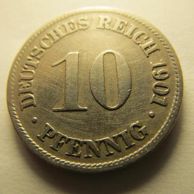 Německo, Kaiser Reich , 10 pfennig z roku 1901 D