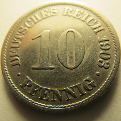 Německo, Kaiser Reich , 10 pfennig z roku 1903 A