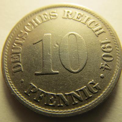 Německo, Kaiser Reich , 10 pfennig z roku 1904 A
