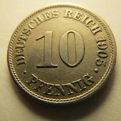 Německo, Kaiser Reich , 10 pfennig z roku 1905 A