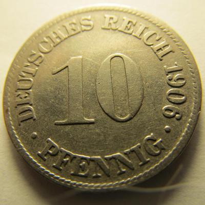 Německo, Kaiser Reich , 10 pfennig z roku 1906 D