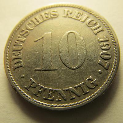 Německo, Kaiser Reich , 10 pfennig z roku 1907 G