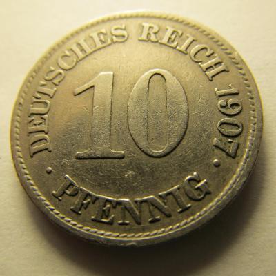 Německo, Kaiser Reich , 10 pfennig z roku 1907 E