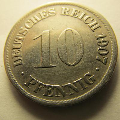 Německo, Kaiser Reich , 10 pfennig z roku 1907 F