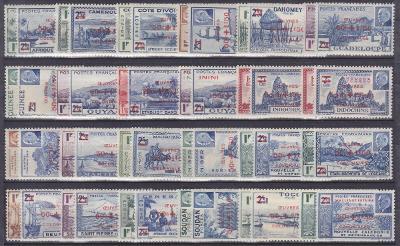 FRANCIE - KOLONIE - OMNIBUS PŘETISKY 1944 - KOMPLETNÍ !! - **svěží**