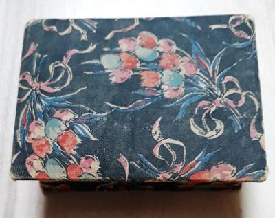 Historická papírová krabička s květinovým vzorem
