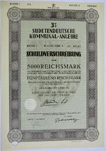 Sudetoněmecká komunální půjčka,dluhopis na 5000 RM, LIBEREC, 16.3.1941