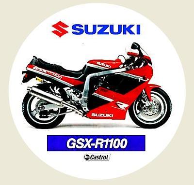 SUZUKI GSX-R1100, castrol, bílá samolepka pr.7-(1x).